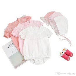 $enCountryForm.capitalKeyWord Australia - New Summer Toddler Baby Girls Blank Jumpsuits with Hat 2pieces Suits Ruffles Short Sleeve Lace Round Collar Beige Bodysuit Baby Romper 3-18M