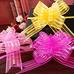 Pull ribbon bows online shopping - 10Pcs Wide Large Flower Organza Ribbon Pull Bows for Party Pew Wedding Car Decoration Gift Wrapping cm rose