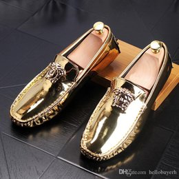 $enCountryForm.capitalKeyWord Australia - Gold Luxury designer Men glitter comfortable medusa Groom shoes Man's Formal Dress Shoes For Groom Homecoming Wedding Christmas gift