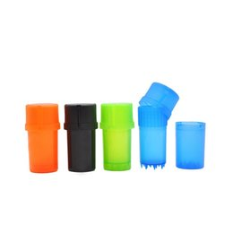 Wholesale Factory price plastic Herb Grinder 3 layers Hard Plastic Crusher Spice Grinders Tobacco Storage Case Mini Keep on hand dhl free EWF262