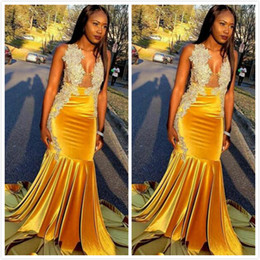 50293fa7014 Yellow Mermaid 2019 Arabic Prom Dresses V-neck Velvet Elegant Evening  Dresses Sexy Cheap Formal Party Bridesmaid Pageant Gowns