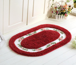 Living room fLoor mats fLoraL online shopping - Pastoral Fleece Carpet Floral Print Coral Fleece Door mat Non slip Floor Mat Hallway kitchen Living Room Carpet Mats