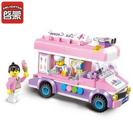 enlighten brick toys Australia - Enlighten 1112 Blocks Mobile Ice Cream Truck Building Blocks 213+PCS DIY Bricks Boys&Girls Toys For Children