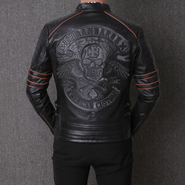 Locomotive genuine Leather coat online shopping - Men s Locomotive Embroidered skull AMERICAN CUSTOMS thick cowhide genuine leather Jacket outdoor motorcycle riding suit coat