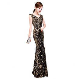Chinese  Black Embroidery Mermaid Chinese Sexy Sequins Oriental Party Female Cheongsam Stage Show Qipao Elegant Celebrity Banquet Dresses manufacturers