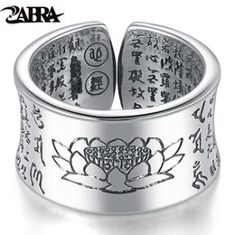 999 Ring Australia - Zabra 999 Silver Ring Men Buddhist Heart Sutra Signet Ring Vintage Opening Adjustable Female Women Rings Sterling Silver Jewelry Y19062004