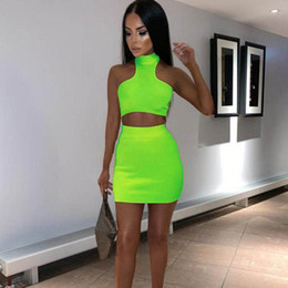 Two Piece Turtleneck Dress Australia - 2019 Women Sleeveless Crop Top Two Pieces Set Turtleneck Solid Neon Color Casual Outfit Female Short Skirts Tracksuits