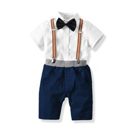 baby bib bow UK - Summer Cotton Boy Short-Sleeved Shirt Shorts Bow Tie Bib Suit Sets Children's Baby Birthday Party Dress Children's Suit Set Kids Clothing