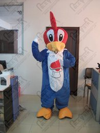 blue hair costumes Australia - woodpecker mascot costumes bird yellow beak red hair cartoon blue suit bird costumes POLE STAR MASCOT COSTUMES