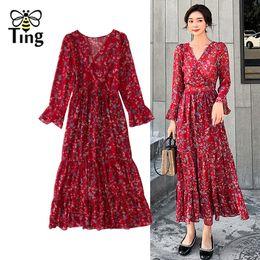 $enCountryForm.capitalKeyWord UK - Tingfly Spring Autumn Floral Boho Midi Dress Sweatheart Neckline Flare Full Sleeve Bohemian Long Dress Casual Vestidos Women