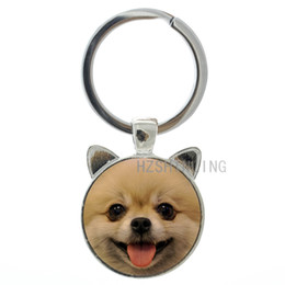 Miniature Ring Australia - TAFREE Cute Smiling Pomeranian Keychain Wheaten Terrier Schnauzer Keyring Miniature Dog Key Chain Ring Holder Animal Gifts CN780