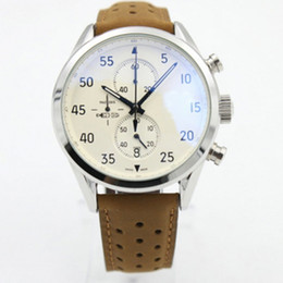 Chronograph 1887 online shopping - New Carrea Calibre SpaceX Quzrtz VK Chronograph Flyback Stopwatch Brown Leather Belt Mens Watches Sports Gent Man Watches