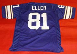 Cheap retro #81 CARL ELLER CUSTOM MITCHELL & NESS Jersey purple Mens Stitching Top S-5XL,6XL Football Jerseys Running from nylon knit fabric manufacturers