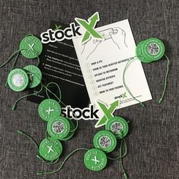 Ingrosso 2019 In magazzino X OG QR Code Sticker Fibbia per scarpe in plastica con etichetta circolare verde StockX Verified X Authentic Green Tags