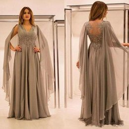 Empire Lace Applique Dress Australia - Modest Gray Empire Formal Evening Dress Mother's 2019 V Neck Lace Applique Hollow Chiffon Pregant Women Party Prom Gown With Sleeve Wrap