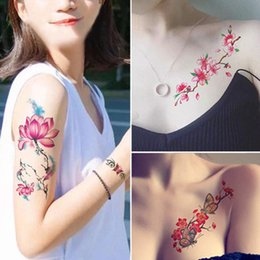 Waterproof floWer cover online shopping - Girl Photo Flower Waterproof Tattoo Art Sticker Cover Scar Wedding Photography Studio Tattoo Stickers A Variety Of Styles