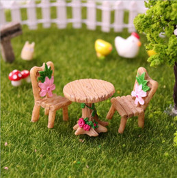 garden tables chairs Australia - 3pcs Set Table Chair Resin Craft Micro Landscape Ornament Fairy Garden Miniature Terrarium Figurine sand mini table model ornament