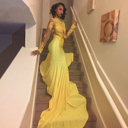 $enCountryForm.capitalKeyWord Australia - Sexy African Yellow Mermaid Prom Dresses 2019 Long Sleeves Lace Appliques Prom Dress Long Evening Party Gowns Vestido De Festa