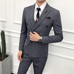 Men S Long Wedding Suit Australia - 2019 Mens Suits Elegant Solid Basic Suits Men Wedding 3 Piece Suit Blazer Vest and Pants Dinner Party Asia size S M L XL XXL XXXL