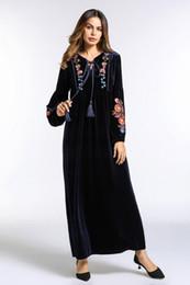 $enCountryForm.capitalKeyWord Australia - Women Dress Embroidery Velvet Maxi Dress Tassel Long Robe Gowns Vintage Muslim Abaya Kimono Winter Ramadan Islamic Clothing