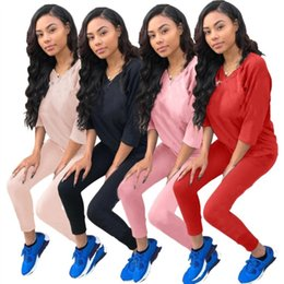 Pink Clothing Women UK - Womens tracksuit summer outfits two piece set casual womens clothing jogging sport suit sweatshirt tights sport suit klw0557