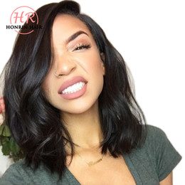 Front lace wig human hair wavy online shopping - Honrin Hair Full Lace Human Hair Wig Wavy Short Wave Natural Wave Pre Plucked Hairline Brazilian Virgin Hair Density Lace Front Wig