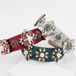 Exquisita Barroco ancha mosaico de la flor cristalina de las vendas de la vendimia de terciopelo Mujeres pelo de las vendas Accesorios Celada en venta