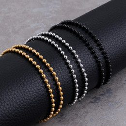 black beads 3mm NZ - in bulk 5pcs Stainless steel 3mm 20'' (50cm) Trendy Ball beads Chain Necklace silver  gold  black free ship