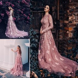 $enCountryForm.capitalKeyWord NZ - Gorgeous Dusty Pink Garden Wedding Dresses A Line Lace Appliques Sweep Train Sexy Open Back Sheer Long Sleeve Bridal Gowns Engagement Dress