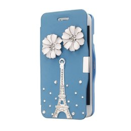 Iphone Crystal Case Australia - Leather Hard Skin Ultra Slim Pouch Wallet Case Cove Rhinestone Crystal for iPhone 6