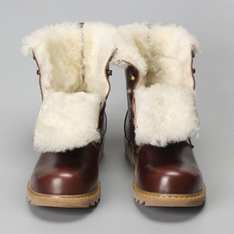 Split Boots NZ - Natural Wool Men Snow Boots Size 38~48 Warmest Cow Split Leather Europe Style Men Winter Boots #YM008