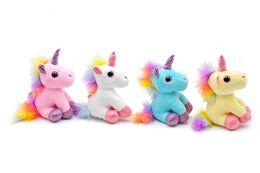 Small Stuffed toyS online shopping - Colorful Unicorn Plush Toy Backpack Pendant Keychain Stuffed Animal Plush Keychains Small Pendant Bag Accessories Angel Unicorn Stuffed doll