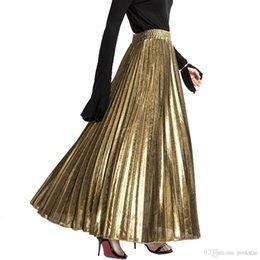 $enCountryForm.capitalKeyWord Australia - 2018 Women Maxi Long Gilding skirt Elegant Pleated Skirts Womens Vintage Lolita Petticoat Ladies Slim high quality Party Skirt Fee Shipping