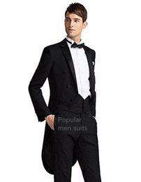 morning suit slim fit UK - New Morning Black Mens Tailcoats Peaked Lapel Wedding Suits For Men Formal Men Suit Slim Fit For Wedding Groomsmen Suits Jacket