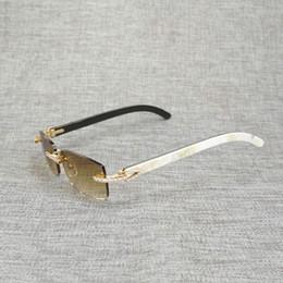 Beyaz Siyah Vintage Buffalo Rhinestone Boynuz Çerçevesiz Güneş Erkekler Ahşap Güneş Gözlükleri Metal Çerçeve Shades Için Yaz Club Gözlük CH01