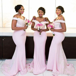 d701b9bf03b Plus Size baby pink mermaid bridesmaid dresses Sexy Off Shoulders Black  Girls nigeria Lace Long Formal Prom Evening Gowns 2019 maid of honor