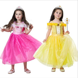 $enCountryForm.capitalKeyWord Australia - 1pcs High 2019 Girls belle dresses movie beauty beast cosplay Kids Yellow Pink party customs Rhinestone Formal Gowns Prom Occasion Dress