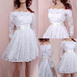 $enCountryForm.capitalKeyWord Australia - New Arrival White Lace Homecoming Dresses Short Sexy Bateau Neck 3 4 Long Sleeve Knee Length Bow Sash Graduation Dresses