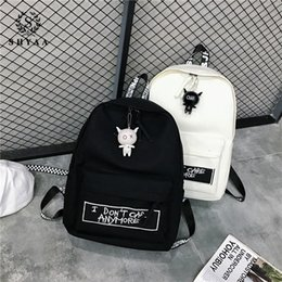 Discount harajuku backpack fashion - SHYAA New Backpack Fashion Canvas Women Backpack Doll Pendant Travel Women Shoulder Bag Harajuku Female Mochila Bagpack