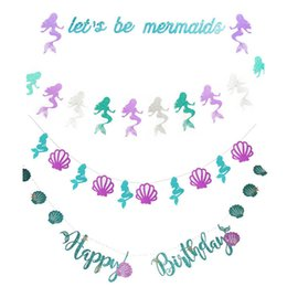 $enCountryForm.capitalKeyWord Australia - Letter birthday Paper card kids Happy Birthday Banner Flag Shell Mermaid party garlands for birthday Flags party decorations