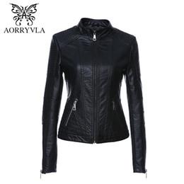 $enCountryForm.capitalKeyWord NZ - AORRYVLA 2019 New Spring Leather Jacket Women Black Color Mandarin Collar Zippers Short Female Faux Leather Jackets High Quality T5190612