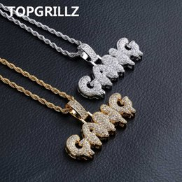 $enCountryForm.capitalKeyWord Australia - Topgrillz Iced Out Cubic Zircon Bling Bubble Letters Gang Pendant Necklace Men Women Hip Hop Gold Silver Color Cz Necklace Gifts J190620