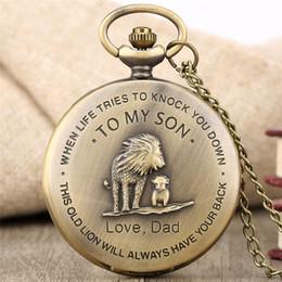 $enCountryForm.capitalKeyWord NZ - Retro 'TO MY SON' Pocket Watch LOVE DAD Men Boy Analog Quartz Necklace Chain Best Gift