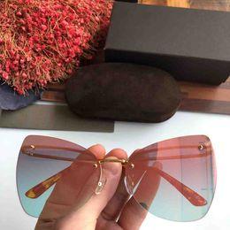 $enCountryForm.capitalKeyWord Australia - 1pcs Fashion Cat Sunglasses Eyewear Sun Glasses Designer Metal Rimless Glass Lenses For Mens Womens Summer Travel Lense Brown Color