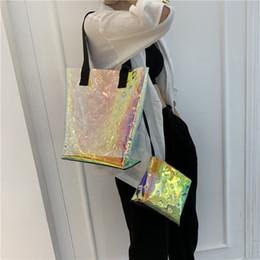 Ladies transparent handbags online shopping - Laser Composite bag handbag Casual Tote clear Transparent beach party fashion lady women outdoor travel storage handbag FFA2356