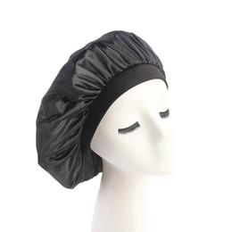 Hot Ladies Long Hair UK - Women Wide Band Satin Bonnet Cap Comfortable Night Sleep Cap Ladies Soft Silk Long Hair Care Bonnet Headwrap 2018 Hot