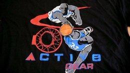 Blue Jumping Ball Australia - BASKETBALL T-SHIRT ACTIVE GEAR MAN JUMPING DUNKING BALL 3X BLACK T- SHIRT USA