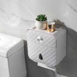 Großhandel Toilettenpapierhalter Wasserdichtes Papierhandtuchhalter Wand befestigt Wc Rollenpapier Standplatz-Fall-Schlauch-Aufbewahrungsbehälter-Bad-Accessoires Y200108