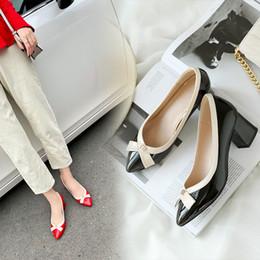 $enCountryForm.capitalKeyWord Australia - Wedding2019 Single Shoe Coarse With Black Autumn Patent Shallow Mouth Soft Leather 5cm Comfortable Work Shoes Woman