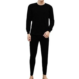 thin thermal underwear UK - Men's Long Johns Winter Thin Thermal Underwear Suit Comfortable High Quality O Neck Pure Color Warm Underwear Pajamas Set #40
